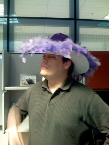 One of my former AOL colleagues styling in one of my hats